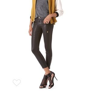 7 For All Mankind Skinny Black Coated Crop Jeans